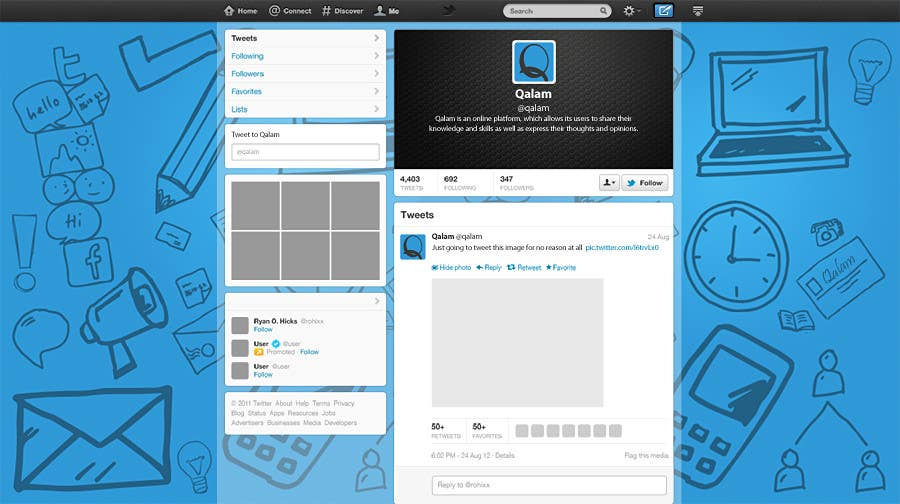 Proposition n°2 du concours Design a Twitter background for
