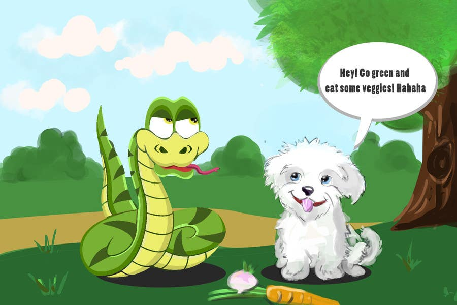 """Kilpailutyö #21 kilpailussa Illustrate something for """"Puppy and Boa"""""""
