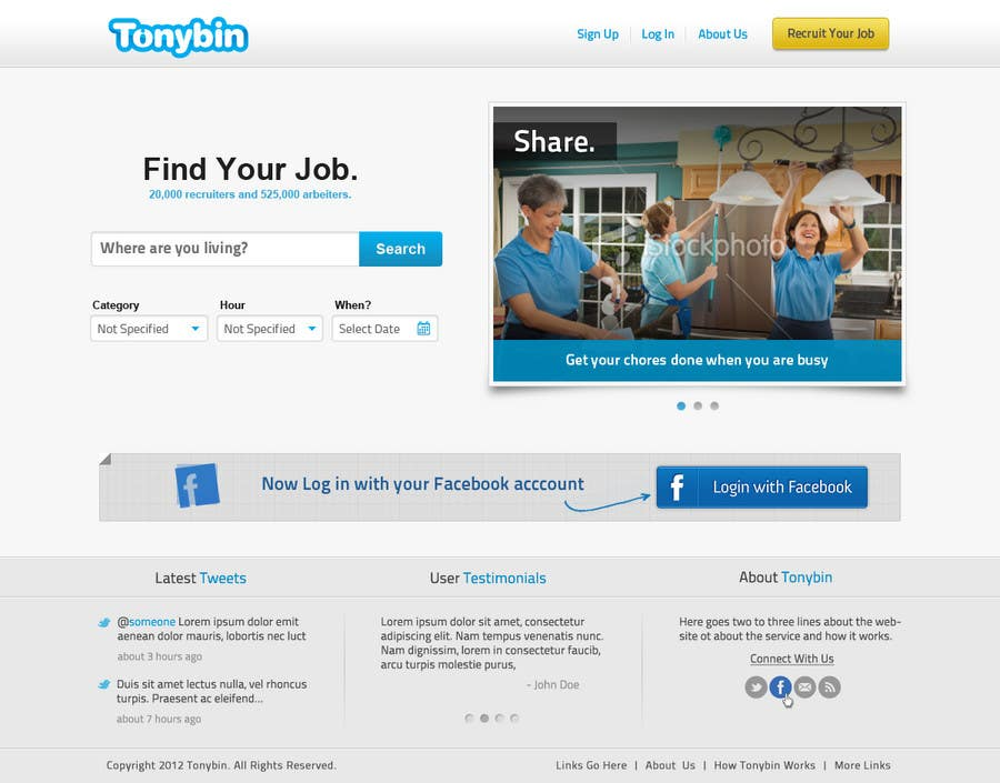 #65 for Website Design for Tonybin (simple and cool designs wanted) by galactica86