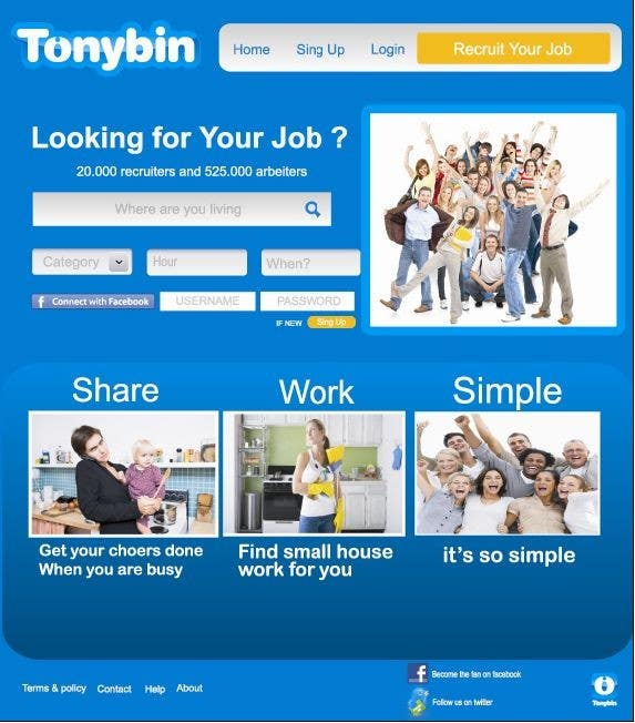 Proposition n°                                        160                                      du concours                                         Website Design for Tonybin (simple and cool designs wanted)