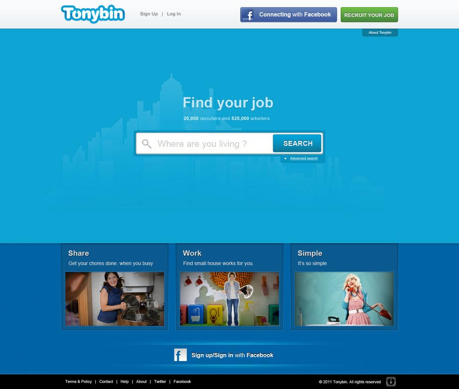 #123 for Website Design for Tonybin (simple and cool designs wanted) by tuanrobo