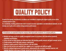 #79 untuk Design a Flyer for a Quality Policy Document oleh sanpatel