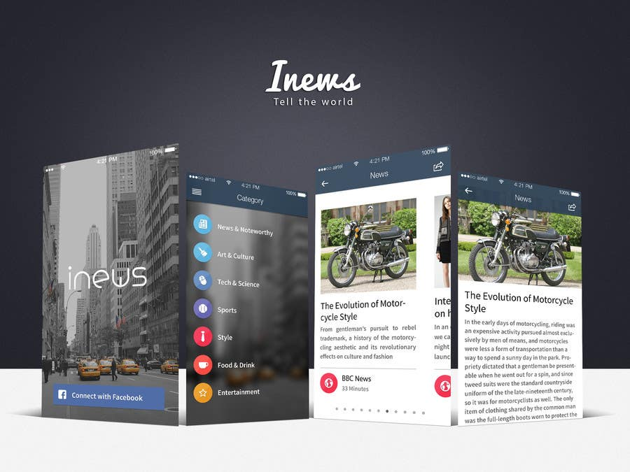 #28 for Design the User interface for a Mobile News App by MrVoon