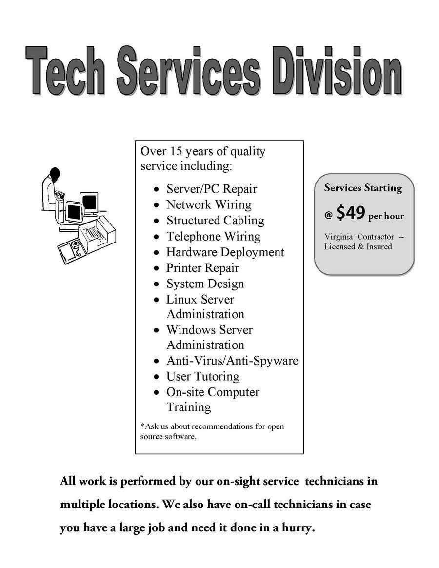 Inscrição nº 26 do Concurso para Flyer Design for Tech Services Division