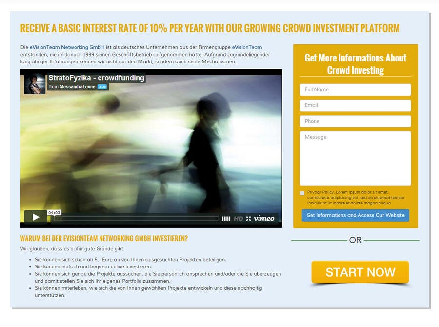 Contest Entry #25 for Creating of a landingpage