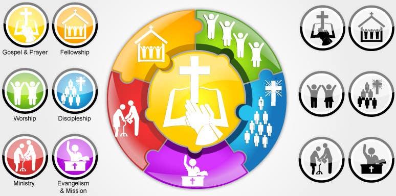 Inscrição nº                                         80                                      do Concurso para                                         Eye-catching graphic logo + 5 clear icons for our church group