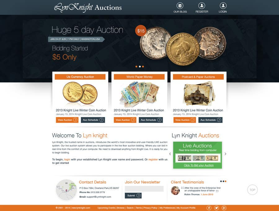 Konkurrenceindlæg #3 for Redesign an Existing Website for a Currency Auction & Store