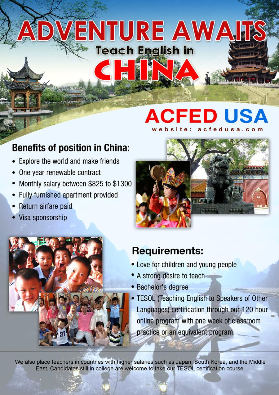 "#25 for Design a Flyer: ""Adventure Awaits - Teach English in China"" by authenticweb"