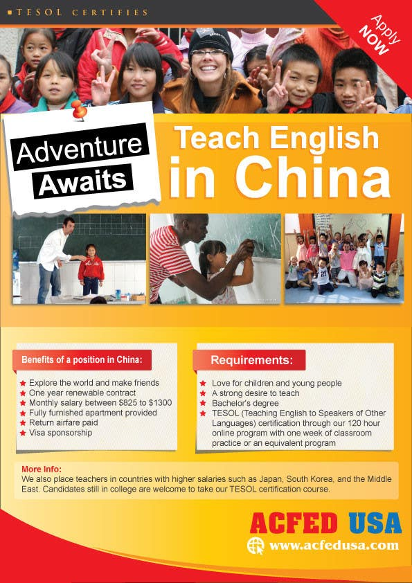 "#26 for Design a Flyer: ""Adventure Awaits - Teach English in China"" by dindinlx"