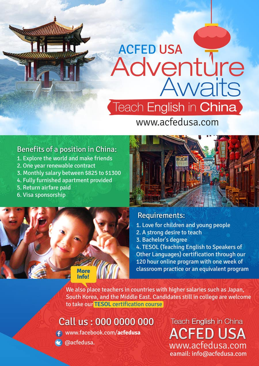 "#43 for Design a Flyer: ""Adventure Awaits - Teach English in China"" by mediatronics"