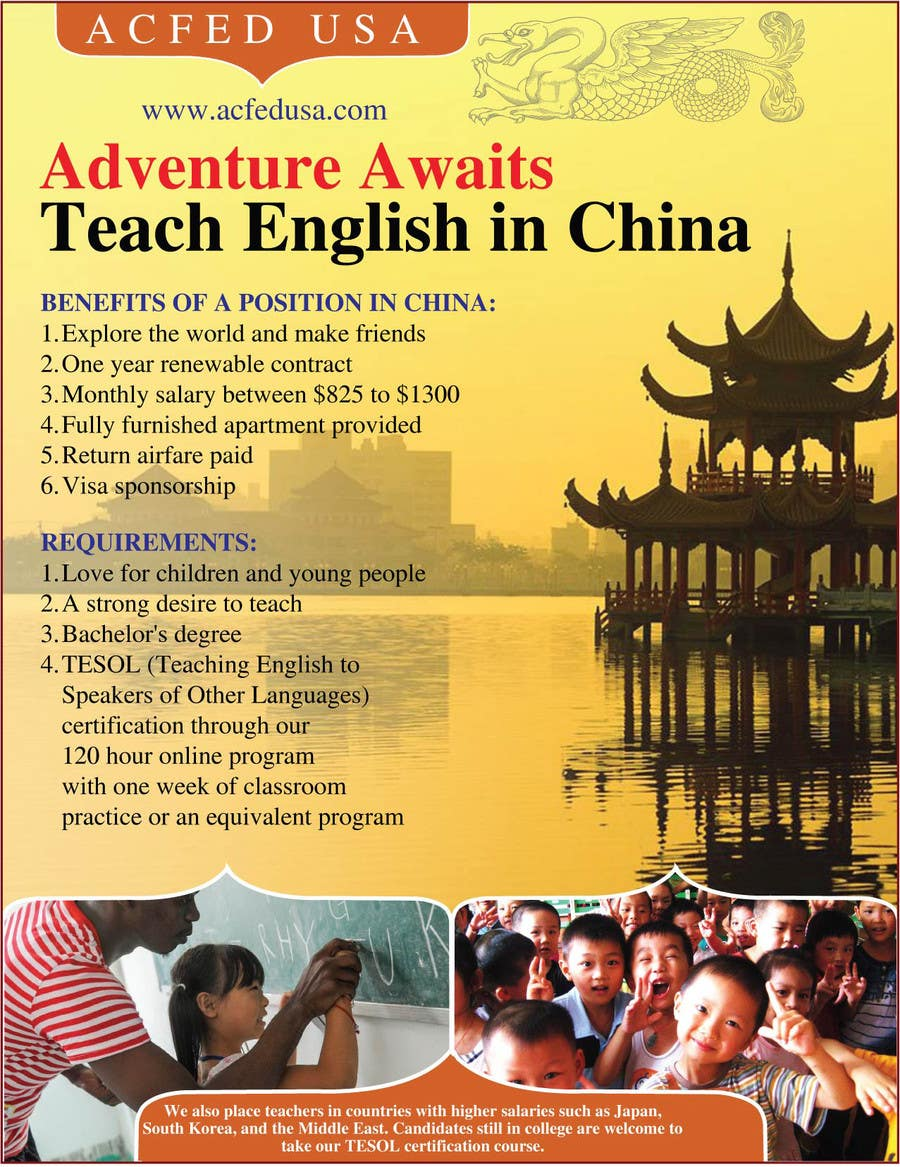 "#31 for Design a Flyer: ""Adventure Awaits - Teach English in China"" by amcgabeykoon"