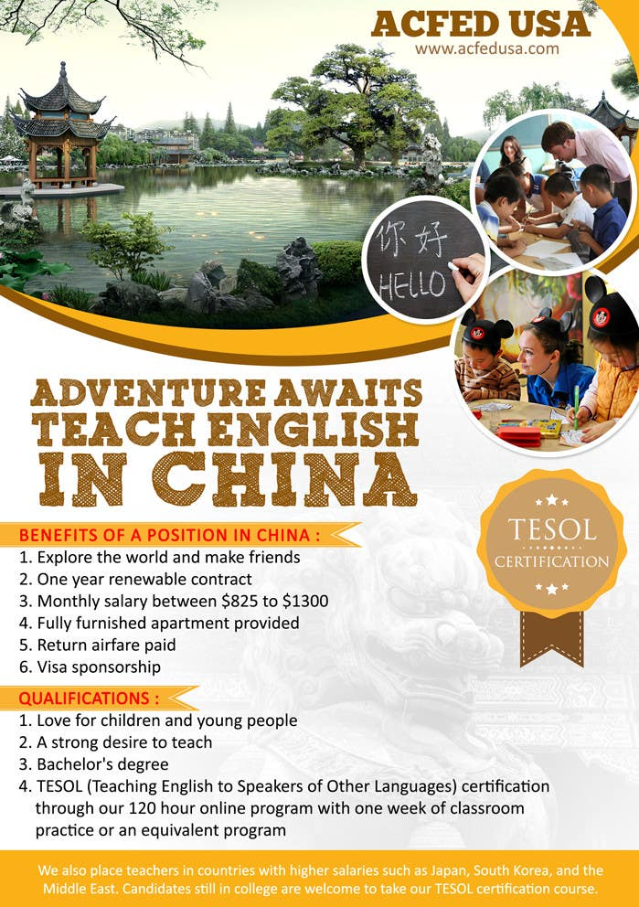 "#47 for Design a Flyer: ""Adventure Awaits - Teach English in China"" by ayogairsyad"