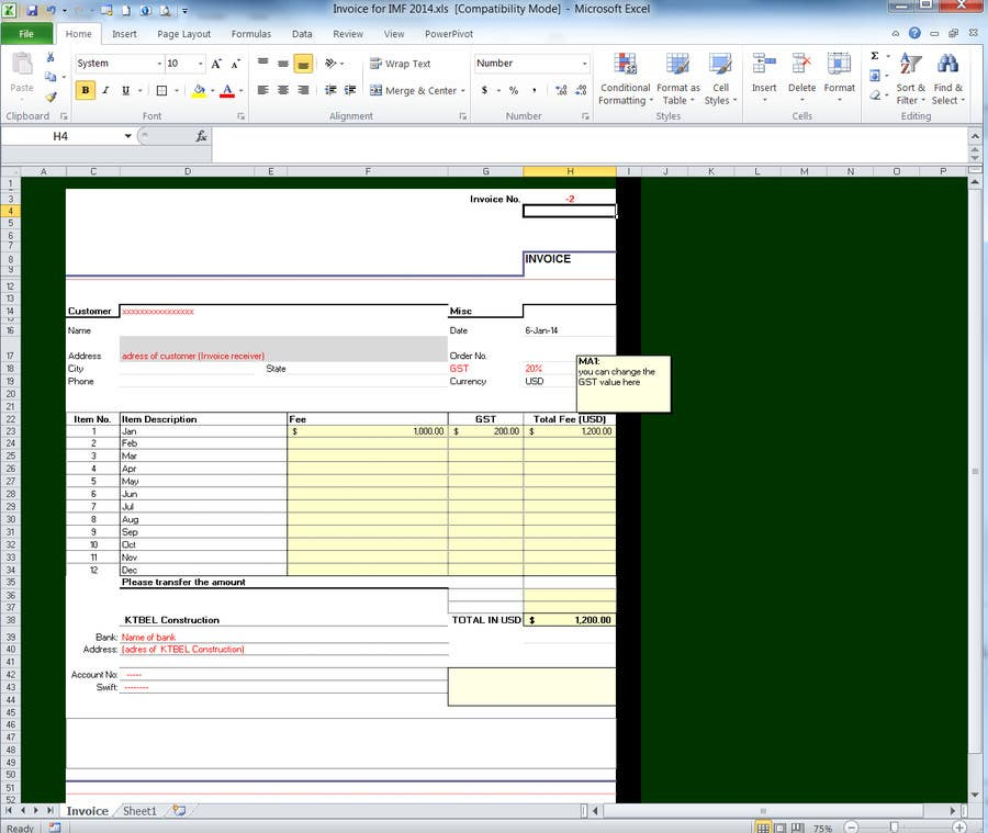 #13 for Do some Excel Work for KTBEL Construction by jonaal