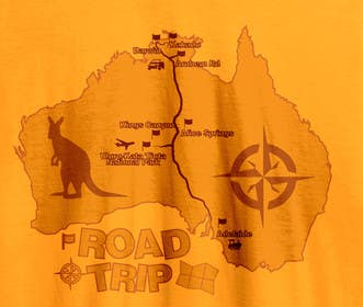 dtumenko tarafından Draw a roadtrip map to be printed on a tshirt için no 5
