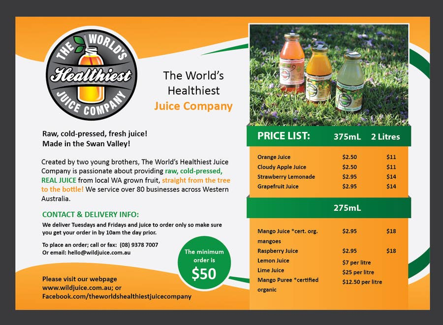 Proposition n°3 du concours Design a Flyer for Juice Company