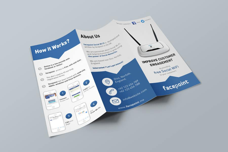 #29 for Design a Flyer for Facepoint Social Wi-Fi Router by stniavla