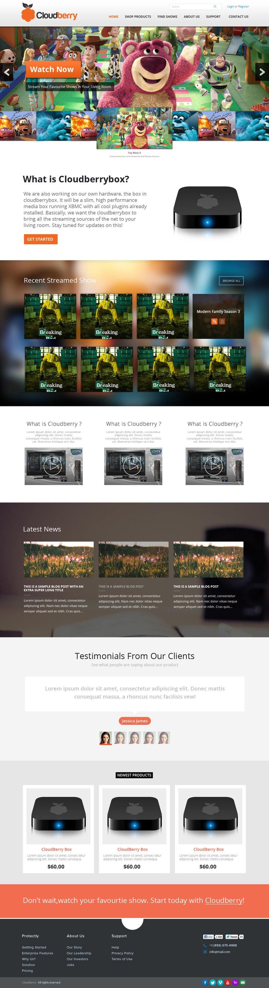 Inscrição nº 5 do Concurso para Design a Website Mockup for Cloudberry mediabox