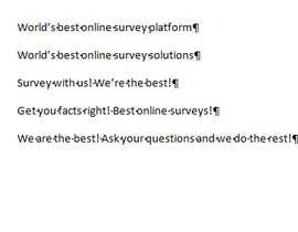 #198 para Write a tag line/slogan for an online survey company por conceptapostrof