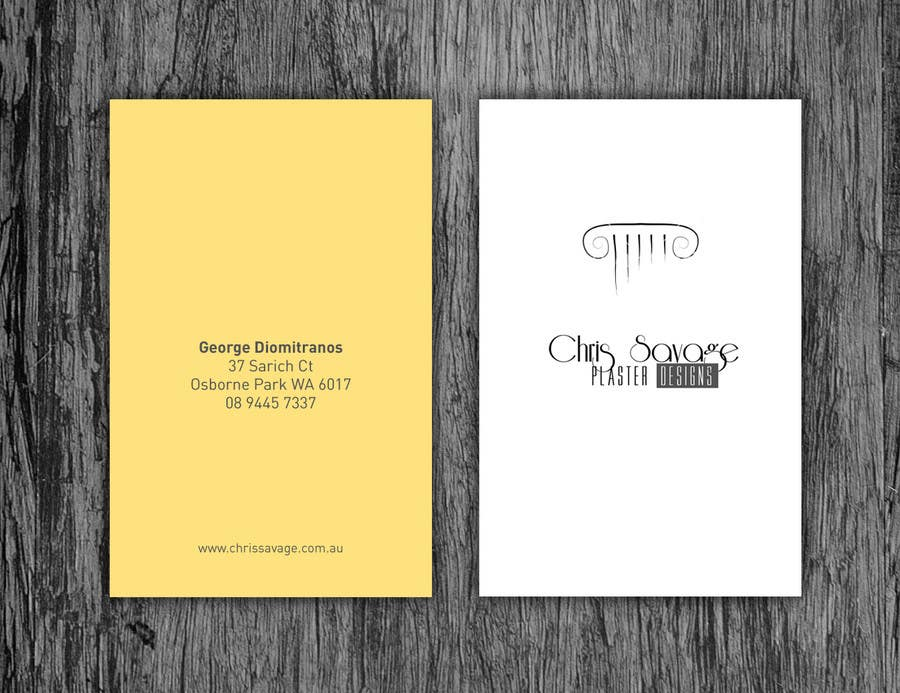 Penyertaan Peraduan #37 untuk Business Card Design for Chris Savage Plaster Designs