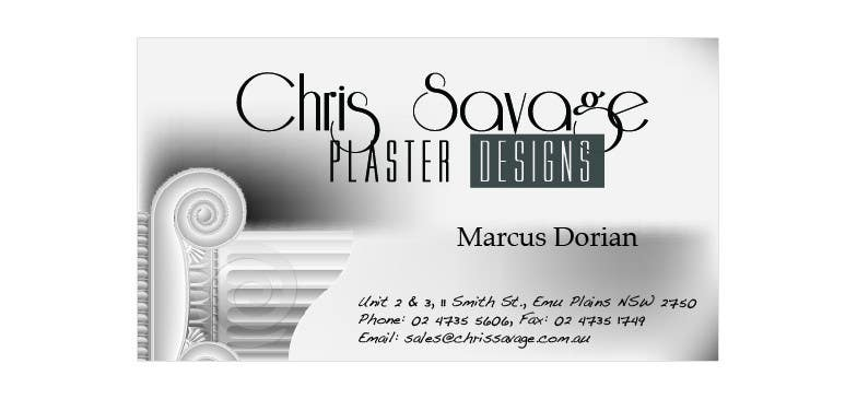 Penyertaan Peraduan #51 untuk Business Card Design for Chris Savage Plaster Designs