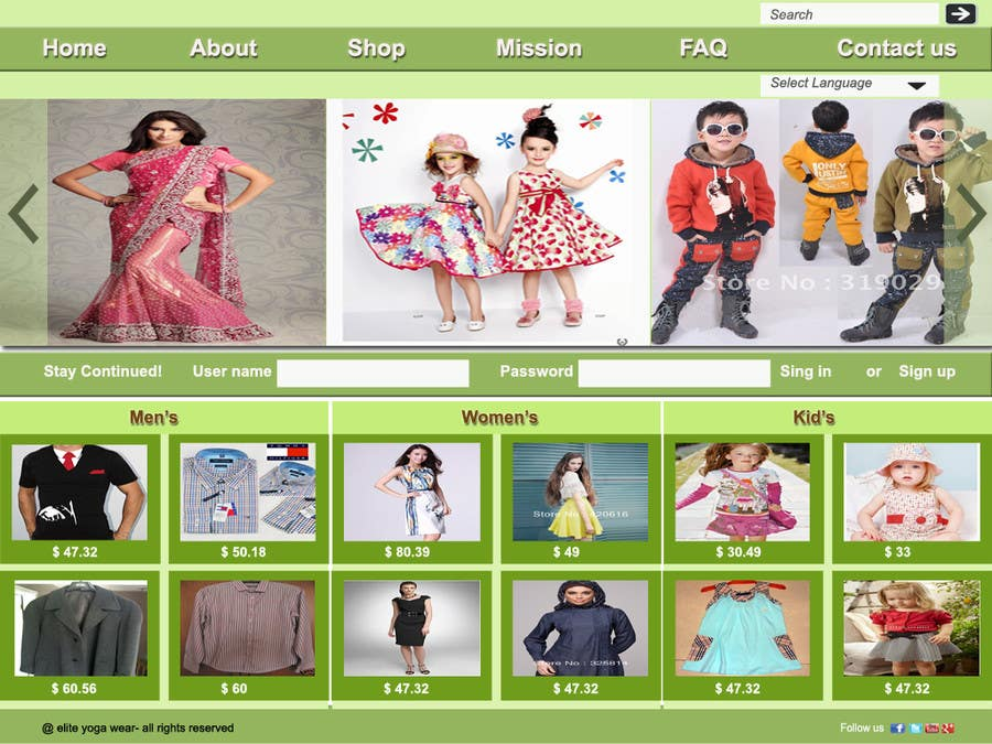#54 for Design a Website Mockup for Elite Yoga Gear by oliullah79