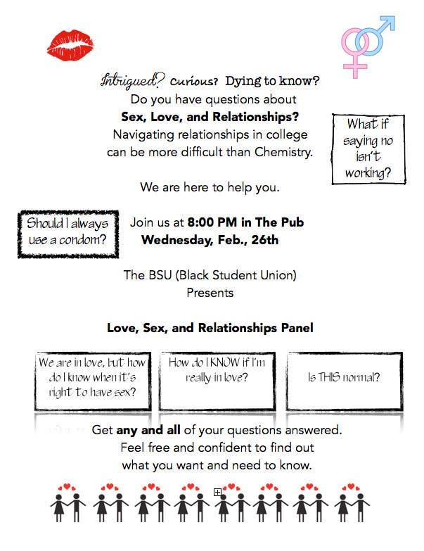 Kilpailutyö #5 kilpailussa Make a flyer for a love,sex,relationship panel