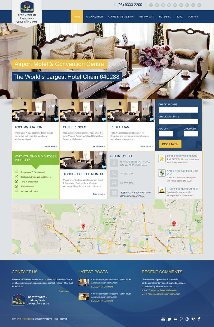 Proposition n°28 du concours Create a Wordpress Template for Hotel