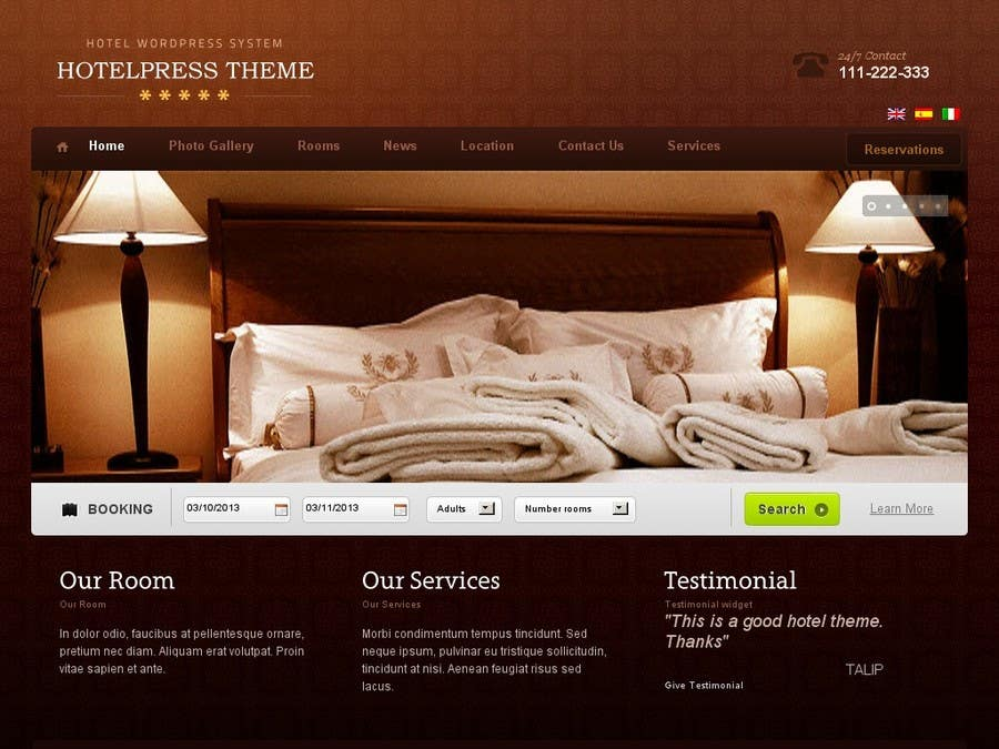 Proposition n°22 du concours Create a Wordpress Template for Hotel
