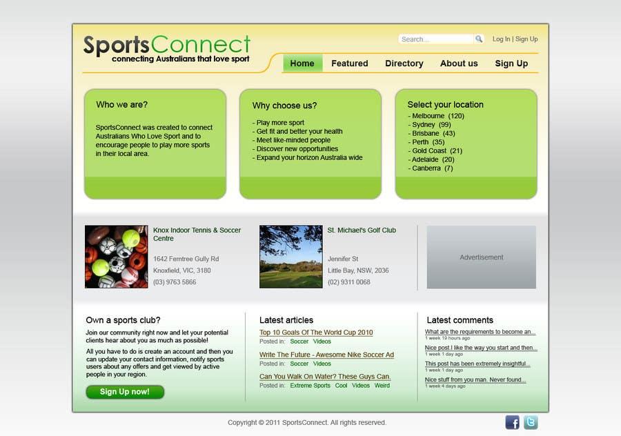 Inscrição nº 98 do Concurso para Website Design for Sportsconnect