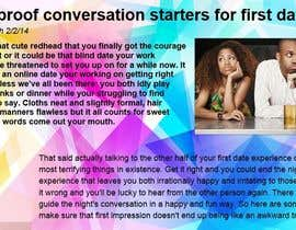 "nº 12 pour Write an article about ""Top 6 first date conversation starters"" par thomassmith1987"