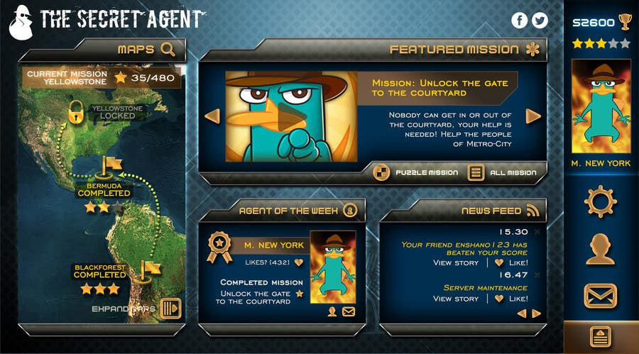 "#38 for Design a mockup of web-based game with a ""secret agent"" theme by enshano"