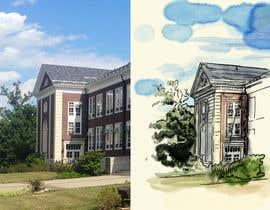 blackdahlia24 tarafından Draw Colored Sketch The College of New Jersey Green Hall For Diploma Frame için no 7
