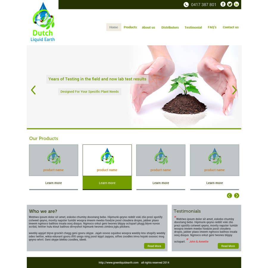 Penyertaan Peraduan #6 untuk Design a Website Mockup for Hydroponic plant food