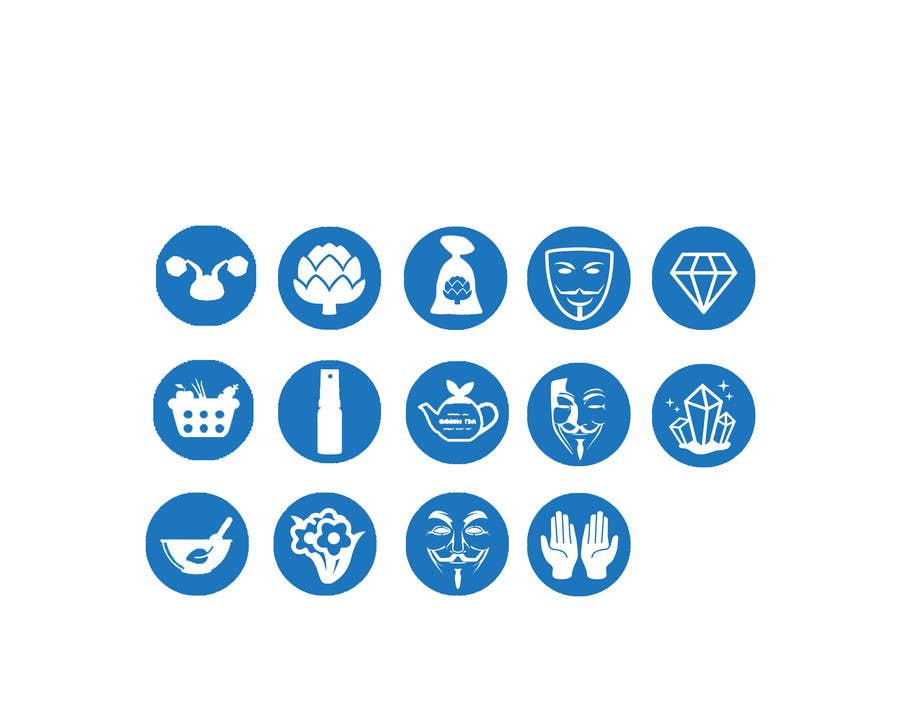The icons are all light blue rectangles with rounded edges, but the symbol.
