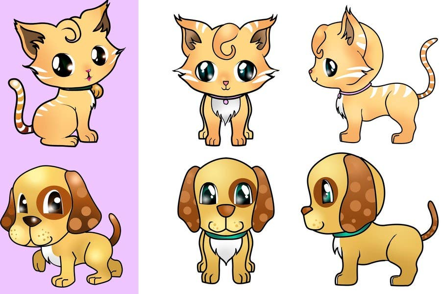 Proposition n°19 du concours Concept art for a virtual pet game: kitten and puppy