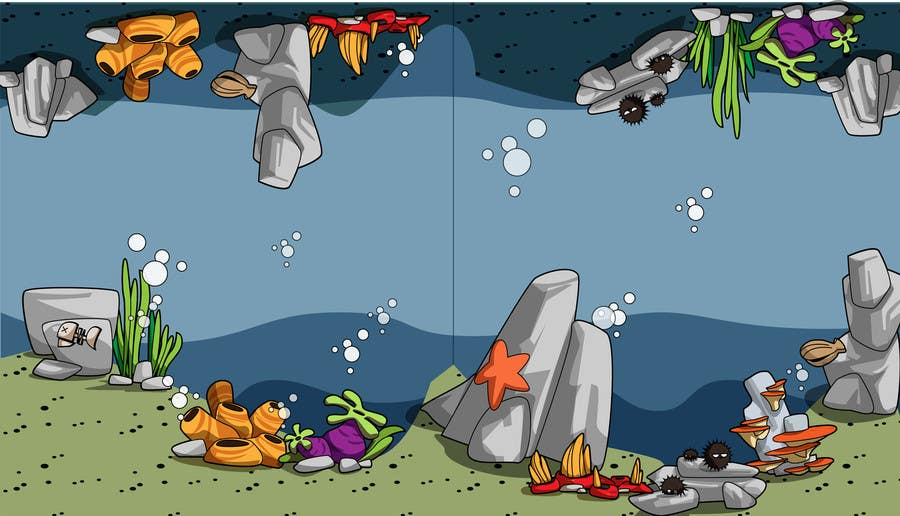 Kilpailutyö #28 kilpailussa 2D artwork (ROCKS & VEGETATION) for obstacles in side-scrolling video game.