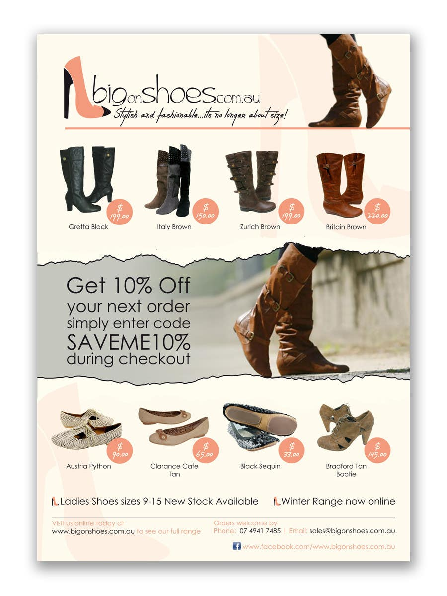 Конкурсная заявка №36 для Brochure Design for Big On Shoes- Online Shoe Retailer