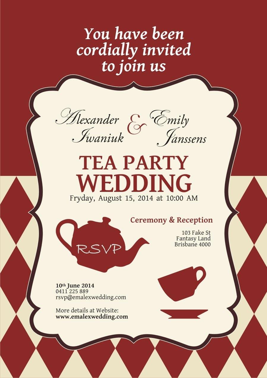 Entry #13 by zebraartstudio for Tea Party Wedding Invitation Alice ...