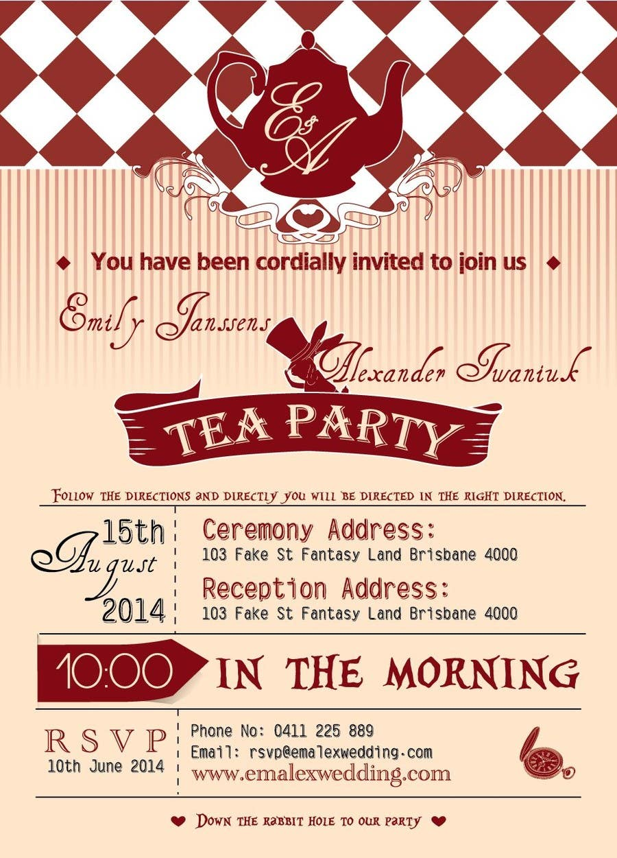 Entry #15 by har430 for Tea Party Wedding Invitation Alice in ...
