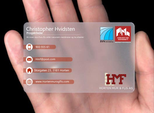 Penyertaan Peraduan #                                        16                                      untuk                                         Design noen visittkort for Horten Mur og Flis AS