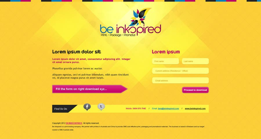 Kilpailutyö #                                        6                                      kilpailussa                                         Landing Page for Be Inkspired
