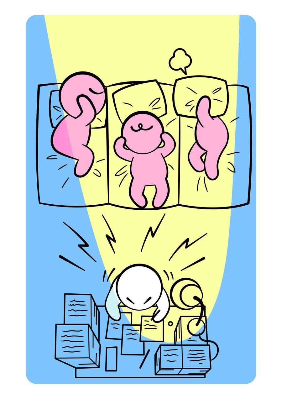 Bài tham dự cuộc thi #                                        7                                      cho                                         Workaholic illustration or cartoon. Design single-panel illustration or cartoon symbolizing a Workaholic (multiple winners possible).