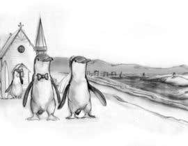 Nro 43 kilpailuun Drawing / cartoon for wedding invite with penguins near the surf käyttäjältä Ferrignoadv