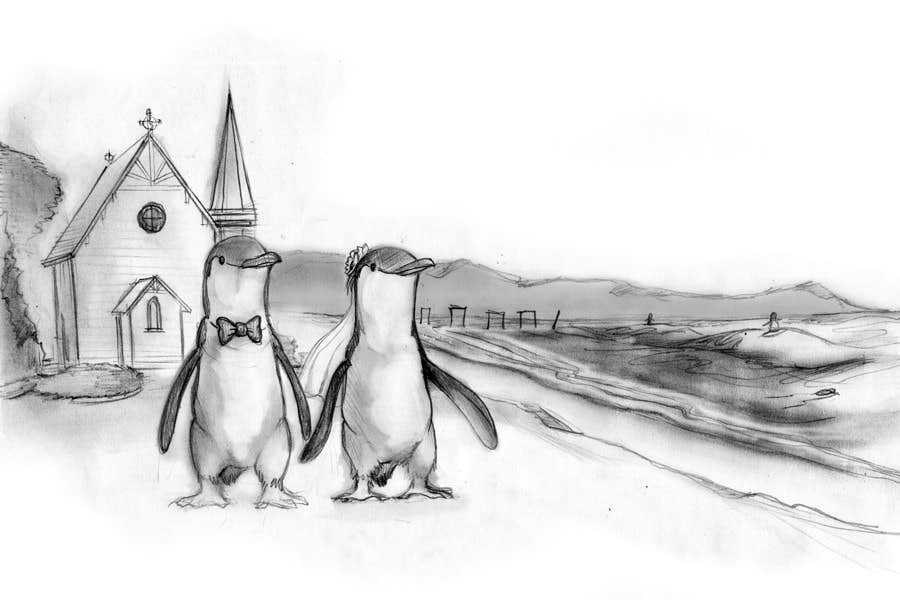 Contest Entry #                                        42                                      for                                         Drawing / cartoon for wedding invite with penguins near the surf
