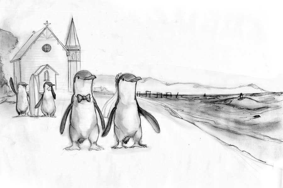 Contest Entry #                                        45                                      for                                         Drawing / cartoon for wedding invite with penguins near the surf