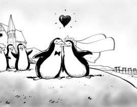 #70 para Drawing / cartoon for wedding invite with penguins near the surf por artinearth