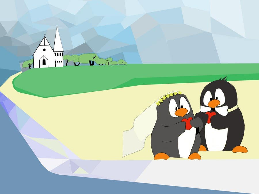 Contest Entry #37 for Drawing / cartoon for wedding invite with penguins near the surf