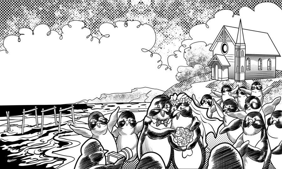 Contest Entry #71 for Drawing / cartoon for wedding invite with penguins near the surf