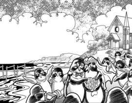 Nro 71 kilpailuun Drawing / cartoon for wedding invite with penguins near the surf käyttäjältä AldousdeGuzman