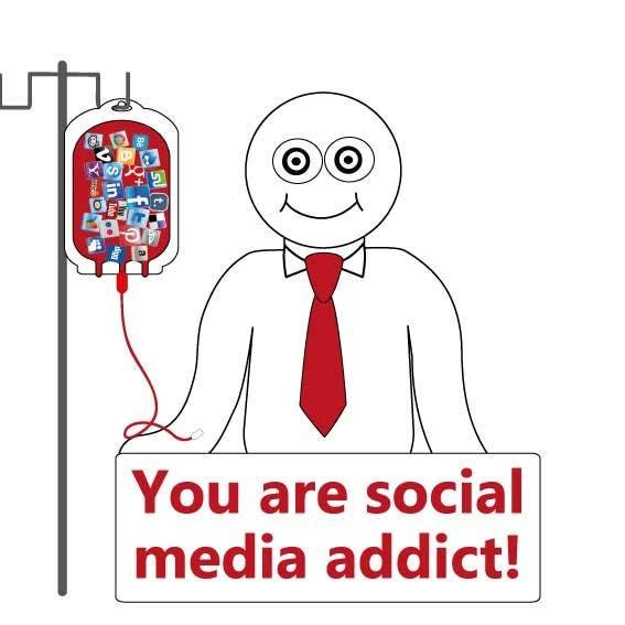 Inscrição nº                                         17                                      do Concurso para                                         Social media addict. Design single-panel illustration or cartoon symbolizing a social media addict (multiple winners possible).